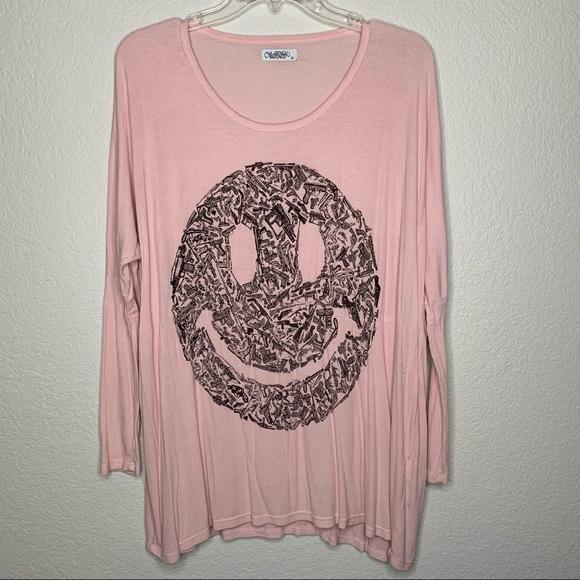 Lauren Moshi Pink Gun Happy Smiley Face Tunic